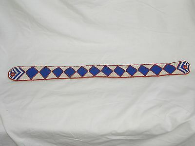 Antique African Beadwork Belt Blue White And Red