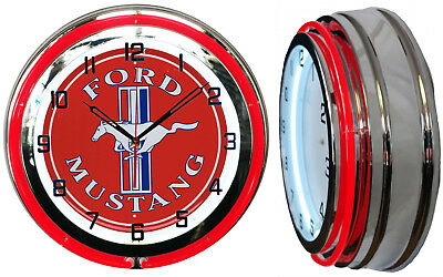 "Ford Mustang 15"" Double Neon Clock Red Neon Chrome Finish Pony Car"