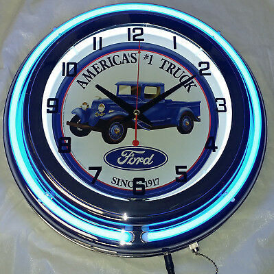 "Ford America's #1 Truck 15"" Double Neon Clock Blue Neon Chrome Finish"