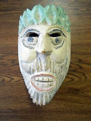 Vintage Orig Hand Carved Dance Mask Central America Mexico Male Bearded Moor