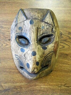 Vintage Orig Hand Carved Dance Mask Central America Mexico Cat Creature Spotted
