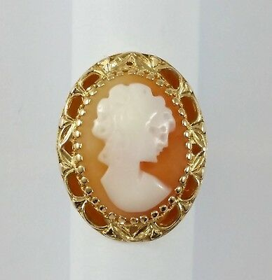 Antique Vintage 14K Karat Solid Yellow Gold Cameo Ring Size 7.25 - Nice!