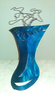 Rare abstract Art Deco Wall Hanging Blue Metal tin Face Sculpture wire hair