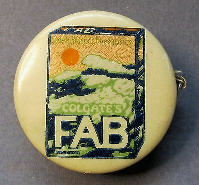 vintage COLGATE'S FAB DETERGENT advertising celluloid tape measure *