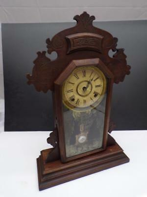 Vintage E.N. Welch Kitchen Mantle Clock Brass Movement Sandwich Pendulum  WS7-1