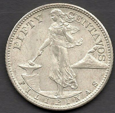 1944S PHILIPPINES 50c COIN - **.750 SILVER **  AVERAGE USED
