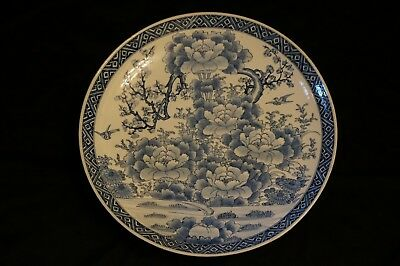 """Real Japanese OLD IMARI high-class blue-and-white porcelain plate in 19c 22"""" BIG"""