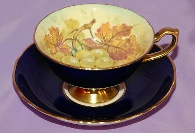 Hammersley English Teacup & Saucer Duo ☆ Grapes Nuts Artist Signed D MILLINGTON
