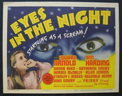 EYES IN THE NIGHT 1942 lobby card set Edward Arnold Ann Harding Donna Reed crime
