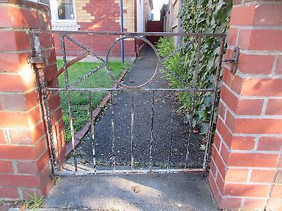 GATE - PERIOD WROUGHT IRON GATE PAINTED BLACK ,LEFT OPEN (now removed) ,2e