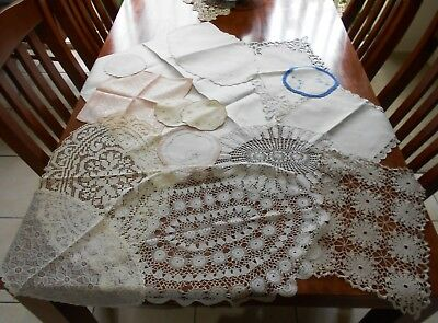 Bulk Lot of 15 x DOILIES, RUNNERS, NAPKINS Crochet, Embroidery, Damask,