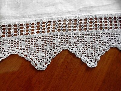 Vintage White Irish Linen Damask Tablecloth with Wide Crochet Edge 100cm square