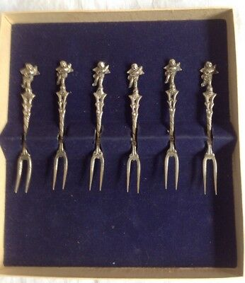 Set Of 6 Cocktail Forks, Ornate- SilverPlated- Made In Italy