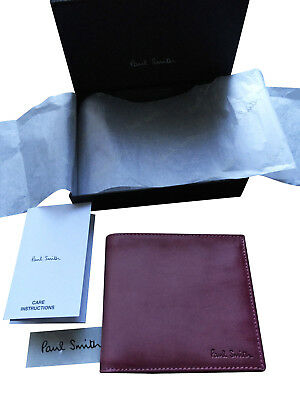 96eae4584278f6 Paul Smith BOXED Calf leather 8 CC Wallet - Plum leather with Brown Interior