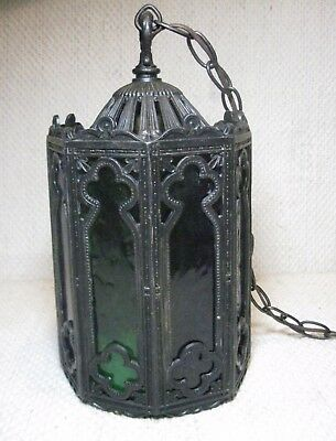 Vintage Gothic Spanish Church Tudor Hanging Light Slag Glass Medieval Victorian