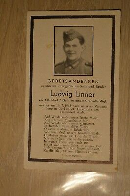 Death card Germany WW2 died Czechia 1943 German soldier deathcard with photo