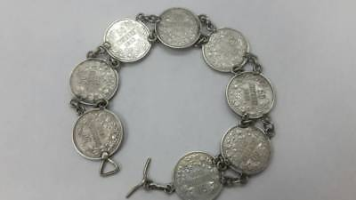 RR Beautiful old collectible Bulgarian Royal silver coins bracelet Ferdinand I