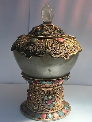 Wonderful Antique Tibetan rare crystal sugar pot with rare gems stone