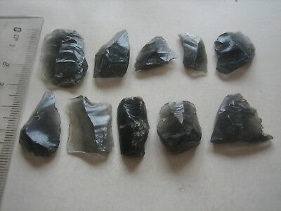 Lot of paleolithic obsidian scrapers / tools. Gravettien. Cejkov, Slovakia.