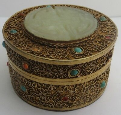 Superb Antique Chinese Silver Gilt Filigree And Jade Lidded Pot