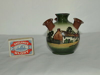 Watcombe Faience Udder Vase With Thatched Cottage Decoration