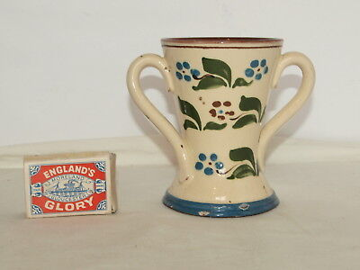 """WATCOMBE TORQUAY POTTERY FORGET-ME-NOT PATTERN TWO HANDLE VASE 4.25"""" high"""
