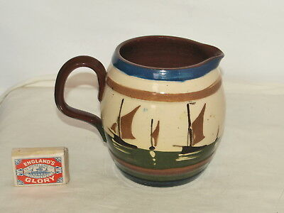 "6.5"" Aller Vale Torquay Pottery Fishing Boats Jug With Motto"