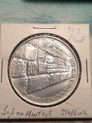 Israel 1967 The Victory Coin Jerusalem Western Wall Proof Coin 26g Silver