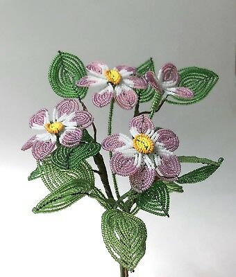 Lot French Beaded Flower Leaf Stem Bouquet Hand Made Pink White Seed Bead Vtg