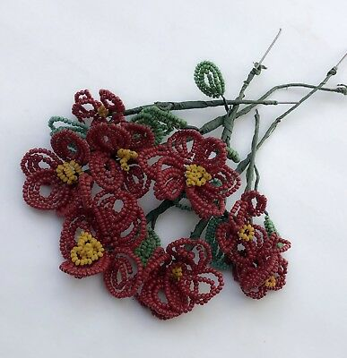 Cute Lot French Beaded Red Flower Leaf Stem Bouquet Hand Made Seed Bead Vtg