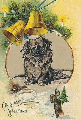 Pekingese Waiting for Santa 1937 Lucy Dawson ~ LARGE New Christmas Note Cards