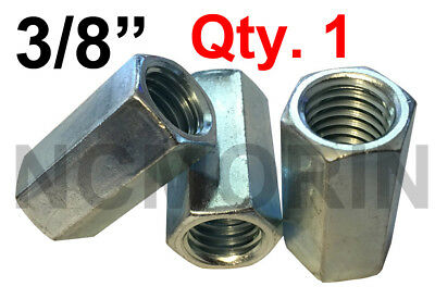 Qty 1 Hex Rod Coupling Nuts 3/8-16 x 1-1/8 Threaded Rod Connectors Zinc Coupler