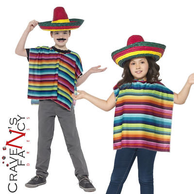 Kids Mexican Poncho Sombrero Instant Kit Boys Girls Child Fancy Dress Outfit New