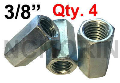 Qty 4 Hex Rod Coupling Nuts 3/8-16 x 1-1/8 Threaded Rod Connectors Zinc Coupler