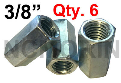 Qty 6 Hex Rod Coupling Nuts 3/8-16 x 1-1/8 Threaded Rod Connectors Zinc Coupler