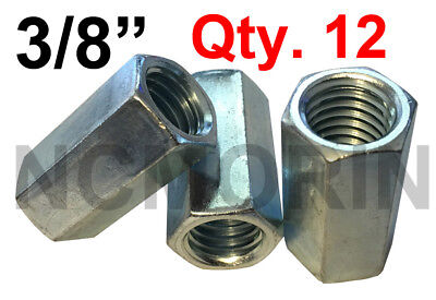 Qty 12 Hex Rod Coupling Nuts 3/8-16 x 1-1/8 Threaded Rod Connectors Zinc Coupler