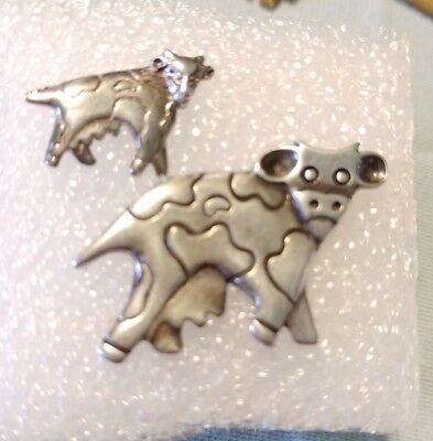 2 Vintage Holstein Dairy COW Pins Sterling Silver SI Small 925