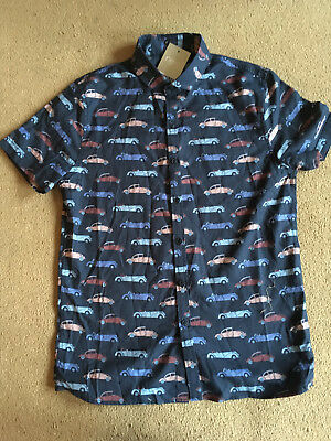 BNWT NEXT Boys Navy Blue Short Sleeved Car Print Shirt 11 Years