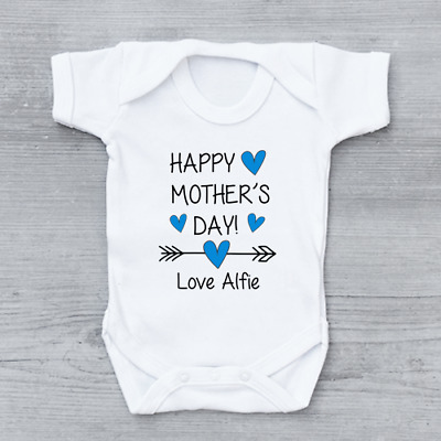 Happy Mother's Day Personalised Baby Vest Boys Baby Grow Bodysuit Mothers Day