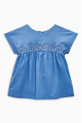 Next Baby Girls Blue 100% Cotton Embroidered Top/Blouse - BNWT