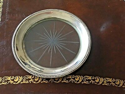 Frank Whiting Sterling Silver Cut Glass Wine Bottle Coaster