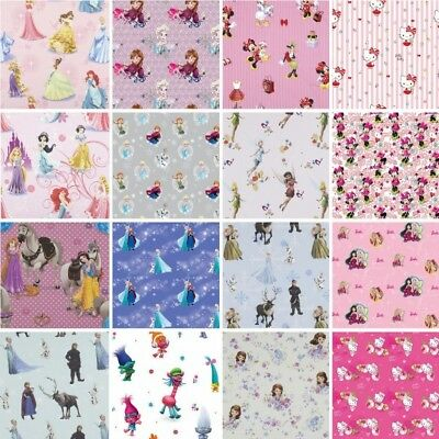 100% Premium Cotton Fabric DISNEY®  Frozen, Princess, Sofia, Minnie Mouse, Bella