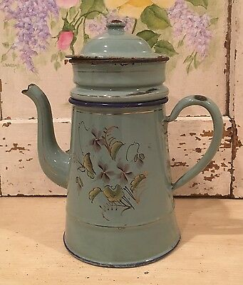 Lovely Antique Vintage French Enamel Biggin Coffee Pot ~ Aqua Green with Flowers