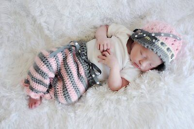Baby Girl Coming Home Outfit with Crochet Hat and Pants Set - Baby Shower Gift S