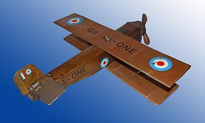 """CRAWFORD'S Biplane """"AIR SERVICE Clockwork Biscuit Tin WWII Wind-up SIGN working"""
