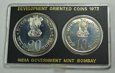 1973 India Development Oriented Coin Set - 10 Rupees & 20 Rupees Proof w/ Cert