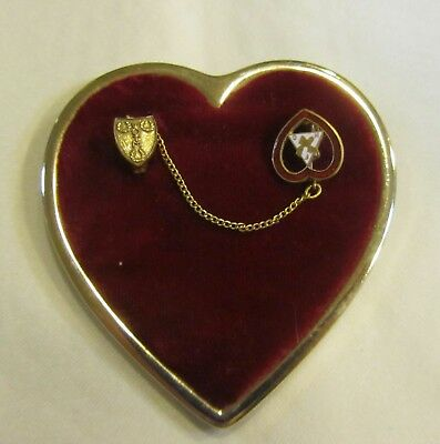 Vintage gold tone red velvet heart brooch
