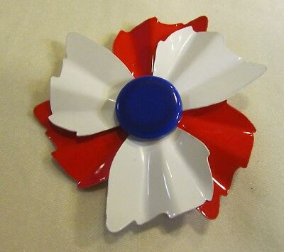 Vintage red and white painted flower brooch