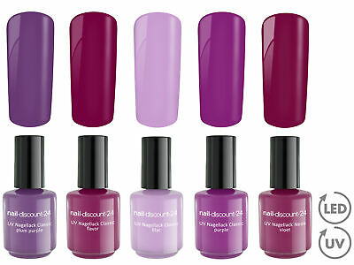 PURPLE HEART Collection 5 x UV LED Polish Gele SET Soak Off Nagel Lack Soak Off