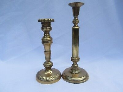 Nice Lot Pair of 2 Vintage Heavy Solid Brass Ornate Candlestick Candle Holders